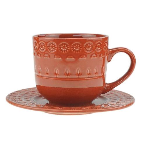 Xícara de Chá c/ Pires em Porcelana Grace Carmim 250ml - Wolff