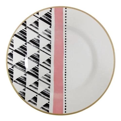 Prato Raso em Cerâmica Geométrica 29,5cm - Alleanza