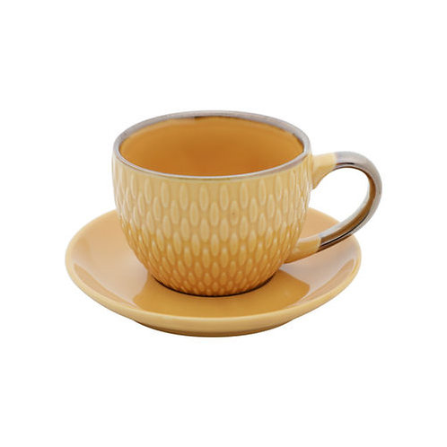 Conj. 4 Xícaras p/ Café c/ Pires Porcelana Drops Amarelo 90ml