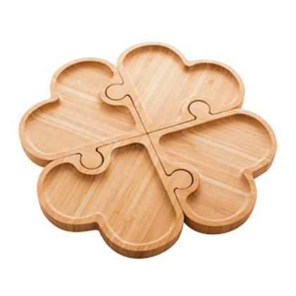 Petisqueira c/ 4 Divisórias de Bambu Coração Quebra Cabeça 26cm -Lyor