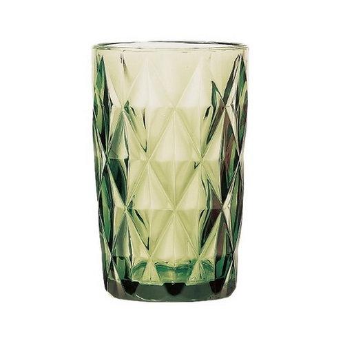 Copo Água de Vidro Diamond Verde 350ml - Lyor
