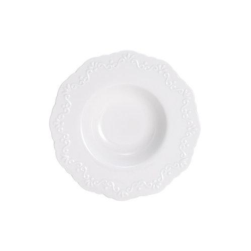 Prato de Porcelana p/ Massa e Risoto Alto Relevo - Wolff