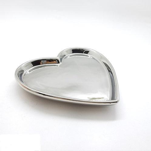 Prato Coração em Cerâmica Prateado 15,7x15x2cm