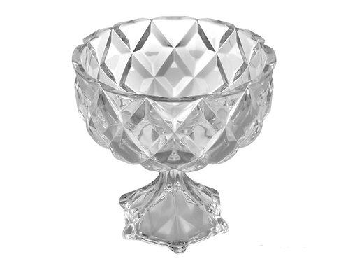Centro de Mesa c/pé de Cristal Deli 24,5x24cm - Lyor