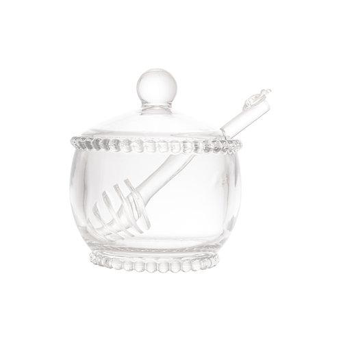 Meleira de Cristal c/ Colher Bolinhas Pearl Transparente 10x7cm - Wolff