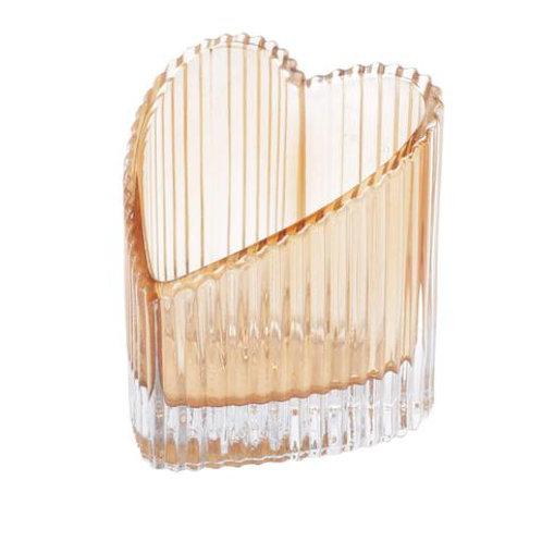Castiçal em Vidro Coração Âmbar 7,7x8,2cm