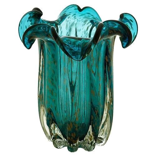 Vaso Murano Italy Azul e Rose 19x24cm - Lyor