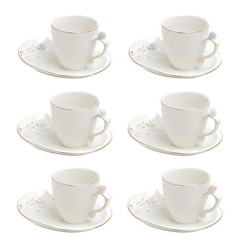 Conj. 6 Xícaras de Café c/ Pires de Porcelana Flower Design Colorido 90ml Wolff