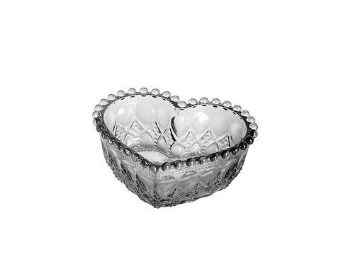 Bowl Coração de Vidro Balls Cinza Metalizado 13x5cm - Lyor