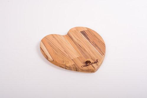 Tábua Coração em Madeira Teca 26cm