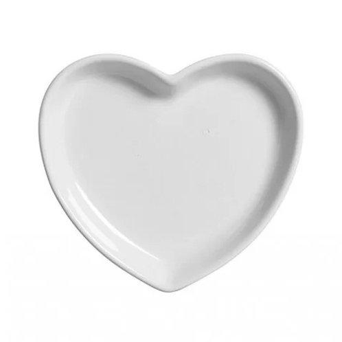 Prato de Cerâmica Coração Branco 21x3cm - Lyor