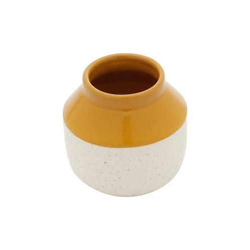 Vaso Decorativo Cerâmica Branco e Amarelo 10x9cm
