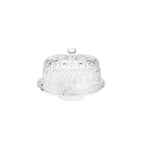 Prato Para Bolo c/ Tampa de Cristal Diamante 30x22cm - Lyor