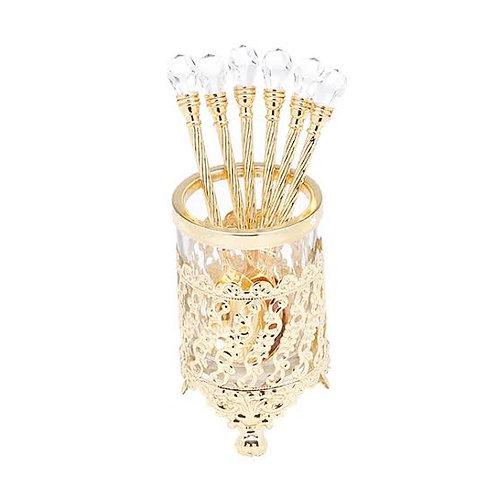Conj. 6 Colheres Dourada Cristal c/ Suporte de Zamac - Lyor