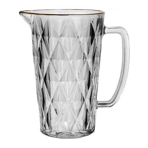 Jarra de Vidro Transparente Diamond c/ Fio de Ouro 1L - Lyor