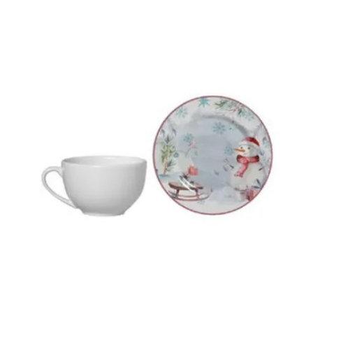 Xícara de Chá c/ Pires em Cerâmica Snowman 300ml - Alleanza
