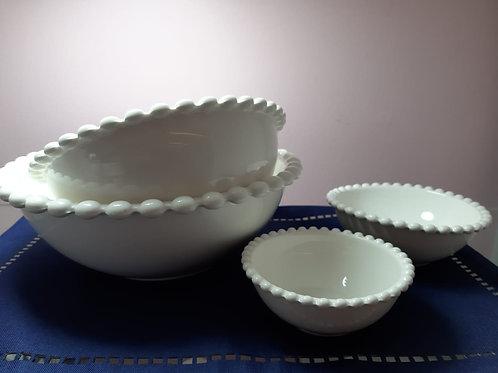 Bowl de Porcelana Dots Branco - Tamanhos
