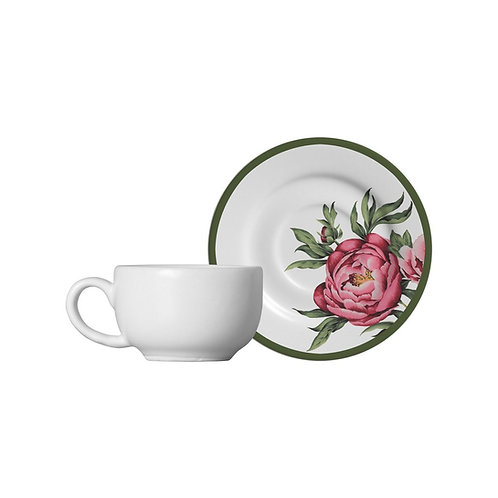 Xícara de Chá c/ Pires em Cerâmica Peony Rose 300ml - Alleanza