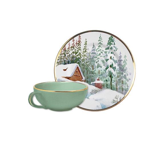 Xícara de Chá c/ Pires em Cerâmica Rena c/ Filete Dourado 180ml - Alleanza