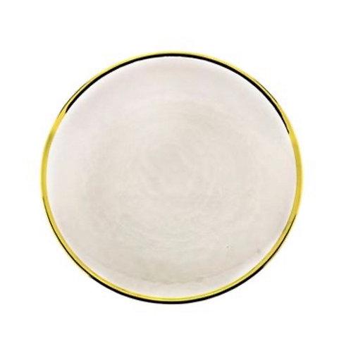 Prato Sobremesa de Cristal c/ Borda Dourada Agate 26cm