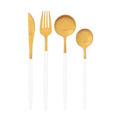 Faqueiro 16 Peças em Aço Inox Dourado c/ Cabo Branco Garbo Catarina - Oxford