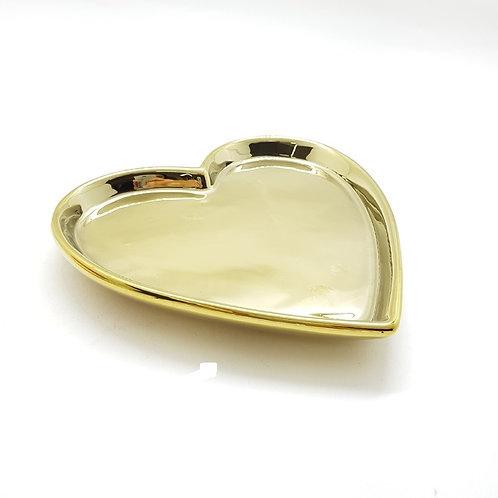 Prato Coração em Cerâmica Dourado 15,7x15x2cm