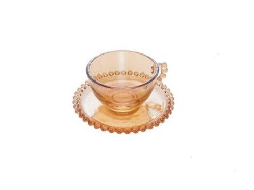 Xícara de Chá em Cristal Âmbar c/ Pires Bolinhas Pearl 200ml - W