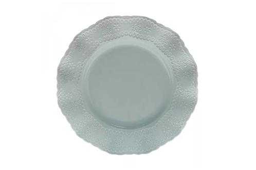 Prato Raso de Porcelana Princess Azul 25,4cm - Lyor