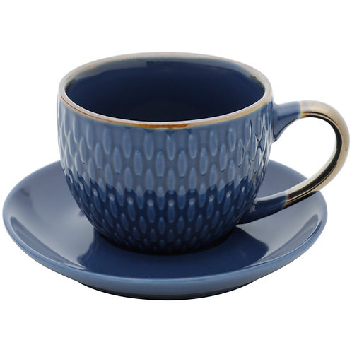 Conj. 4 Xícaras p/ Café c/ Pires Porcelana Drops Azul 90ml