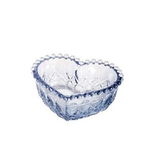Bowl Coração de Vidro Balls Azul Metalizado 13x5cm - Lyor