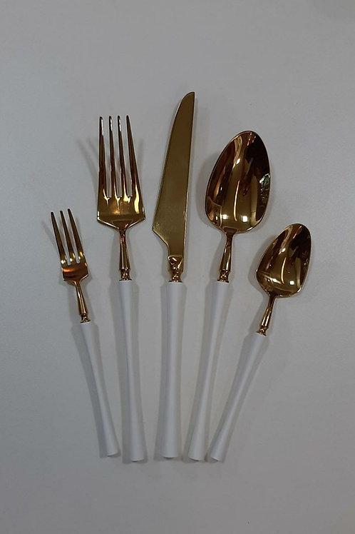 Conj. 5 Talheres em Aço Inox Dourado c/ Branco