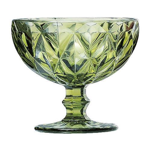Taça Sobremesa de Vidro Diamond Verde 310ml - Lyor