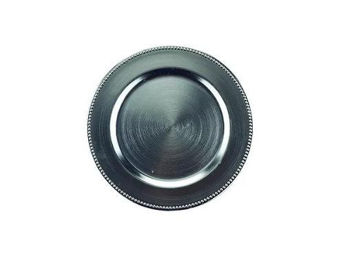 Sousplat de Chá Plástico Prateado 25cm