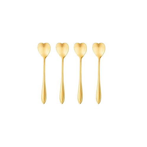 Conj. 4 Colheres Aço Inox p/ Chá Heart Dourado - BonGourmet