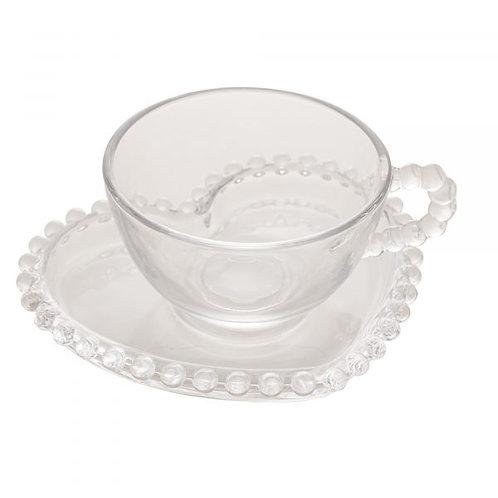 Xícara de Chá em Cristal Transparente c/ Pires Coração Bolinhas Pearl 180ml - Wo
