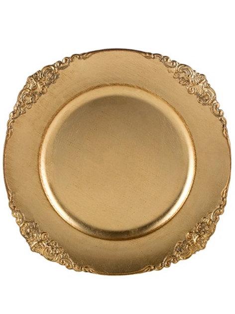 Sousplat de Plástico Dourado Provençal 35cm