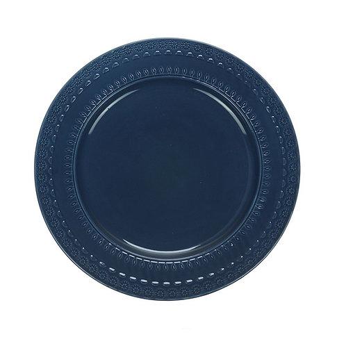 Prato Raso em Cerâmica Grace Azul 27cm - Wolff