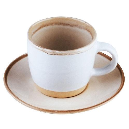 Conj. 4 Xícaras de Café c/ Pires em Cerâmica Good Vibes 115ml
