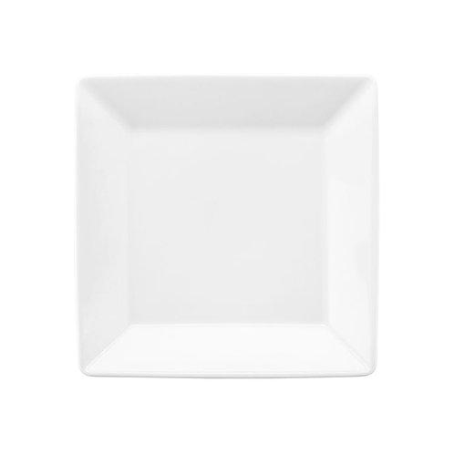 Prato Sobremesa Quadrado Quartier Porcelana Branco 20x20cm Oxford