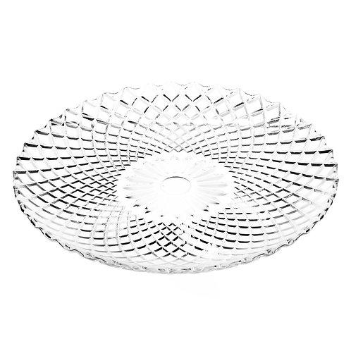 Prato Raso de Vidro Transparente Grid 25cm - BonGourmet