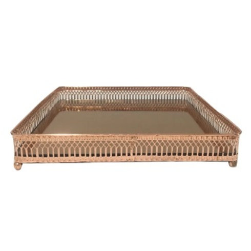 Bandeja Metal Ornamented Edges Retangular Cobre 25x15,5x4,5cm
