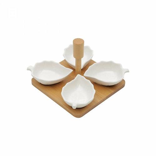 Conj. 5 Peças Petisqueira de Porcelana - BonGourmet