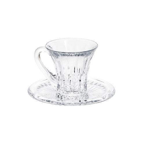Xícara de Café com Pires de Cristal Renaissance 105ml - Lyor