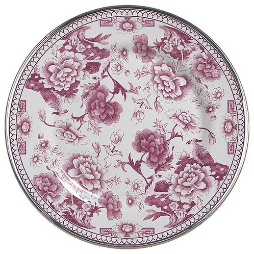 Prato Raso em Cerâmica Chinese Rose c/ Filete Dourado  29cm - Alleanza