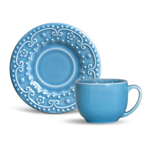 Xícara de Chá c/ Pires 161ml Esparta Azul Celeste - Porto Brasil