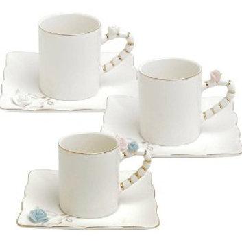 Conj. 6 Xícaras de Café c/ Pires de Porcelana Flower Square Colorido 80ml Wolff