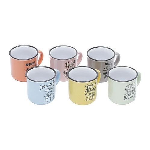 Conj. 6 Canecas de Cerâmica Motive Coloridas 130ml - Bon Gourmet