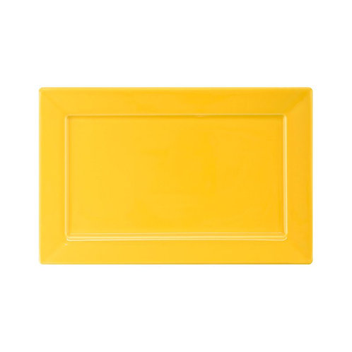 Prato Sobremesa / Travessa Plateau Porcelana Amarelo 24x16cm Oxford