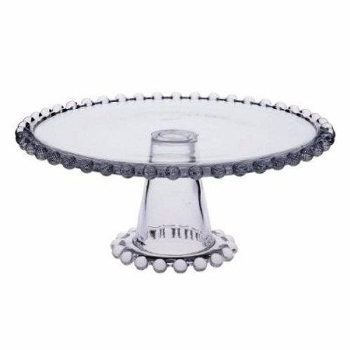 Prato Para Bolo ou Doces Bolinhas com Pé em Cristal Transparente 31cm - Wolff