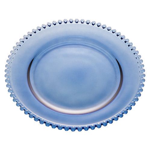 Prato Sobremesa Cristal Azul Escuro Bolinha Pearl Wolff